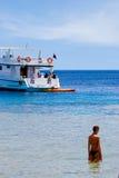 Muchacha y barco Fotografía de archivo libre de regalías