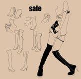 Muchacha y botas de la moda Imagenes de archivo