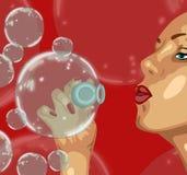Muchacha y burbuja Fotos de archivo libres de regalías