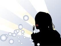Muchacha y burbujas Imágenes de archivo libres de regalías