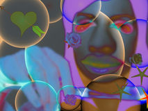 Muchacha y burbujas. Fotografía de archivo