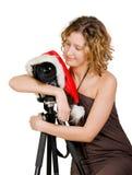 Muchacha y cámara digital de la foto fotografía de archivo