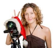 Muchacha y cámara digital de la foto fotos de archivo libres de regalías