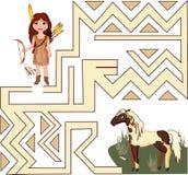 Muchacha y caballo indios Imagenes de archivo
