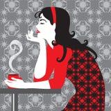 Muchacha y café Foto de archivo libre de regalías