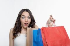 Muchacha y compras Imágenes de archivo libres de regalías