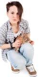 Muchacha y conejo Fotos de archivo libres de regalías