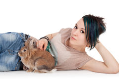 Muchacha y conejo Fotos de archivo