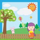 Muchacha y conejo rosado Fotos de archivo libres de regalías