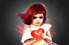 Muchacha y corazón stock de ilustración