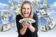 Muchacha y dinero fotografía de archivo libre de regalías