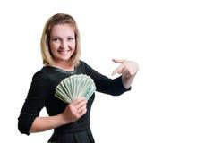 Muchacha y dinero foto de archivo libre de regalías