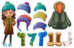Muchacha y diversos tipos de ropa del invierno Imágenes de archivo libres de regalías