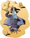 Muchacha y dragón hermosos en desierto libre illustration