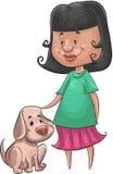 Muchacha y el perro Imagen de archivo libre de regalías