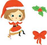 Muchacha y elementos de la Navidad ilustración del vector