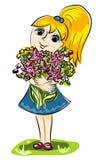 Muchacha y flores Imágenes de archivo libres de regalías
