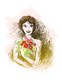 Muchacha y flores Fotos de archivo libres de regalías