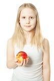 Muchacha y fruta Adolescente con la manzana Imagen de archivo