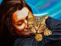 Muchacha y gato stock de ilustración