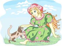 Muchacha y gato Imagen de archivo
