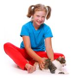 Muchacha y gato. imágenes de archivo libres de regalías