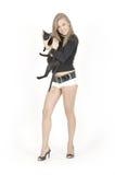 Muchacha y gato bonitos jovenes imagenes de archivo