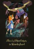 Muchacha y gato delante del bosque ilustración del vector