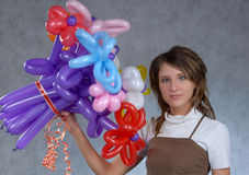 Muchacha y globos Foto de archivo libre de regalías