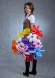Muchacha y globos Imagen de archivo libre de regalías