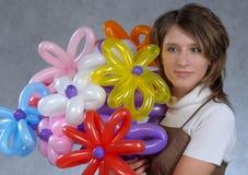 Muchacha y globos Fotos de archivo libres de regalías