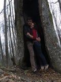 Muchacha y hombre en un árbol Fotos de archivo libres de regalías