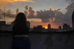 Muchacha y las nubes Imagen de archivo libre de regalías