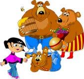 Muchacha y los tres osos Foto de archivo