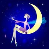Muchacha y luna. stock de ilustración