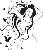 Muchacha y mariposa   Imagenes de archivo