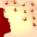 Muchacha y mariposas bonitas Imágenes de archivo libres de regalías