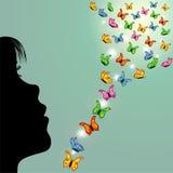 Muchacha y mariposas en el cielo Fotografía de archivo libre de regalías