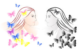 Muchacha y mariposas hermosas libre illustration
