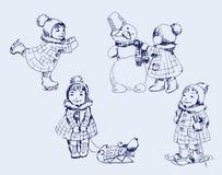Muchacha y muñeco de nieve Fotografía de archivo libre de regalías