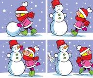 Muchacha y muñeco de nieve Foto de archivo libre de regalías