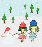 Muchacha y muñeco de nieve stock de ilustración