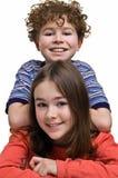 Muchacha y muchacho Fotos de archivo