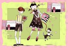 Muchacha y muchacho stock de ilustración