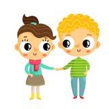 Muchacha y muchacho de la historieta que llevan a cabo las manos, caracteres lindos del vector, aislador Foto de archivo