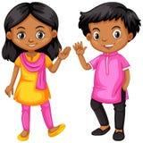 Muchacha y muchacho de la India stock de ilustración