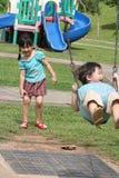 Muchacha y muchacho en el balanceo del parque Imagenes de archivo