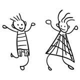 Muchacha y muchacho en el estilo de los dibujos de los niños imagen de archivo