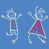 Muchacha y muchacho en el estilo de los dibujos de los niños stock de ilustración