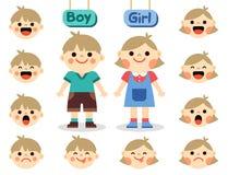 Muchacha y muchacho lindos con las caras que muestran diversas emociones stock de ilustración